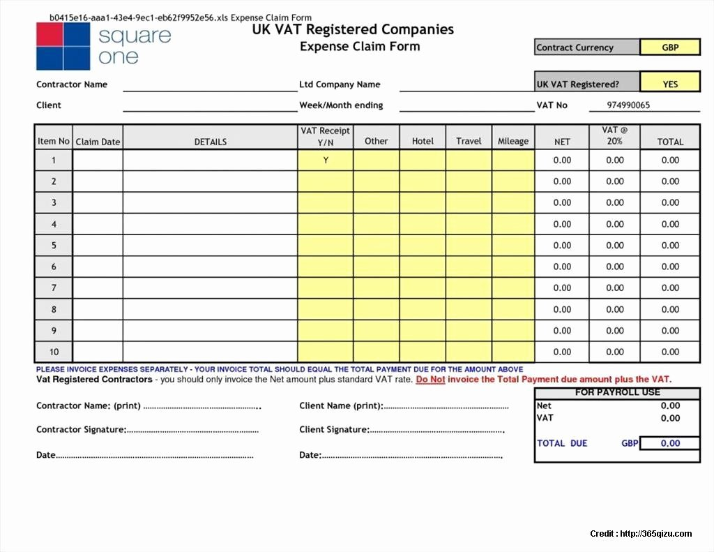 Mileage Claim form Template Excel form Resume Examples