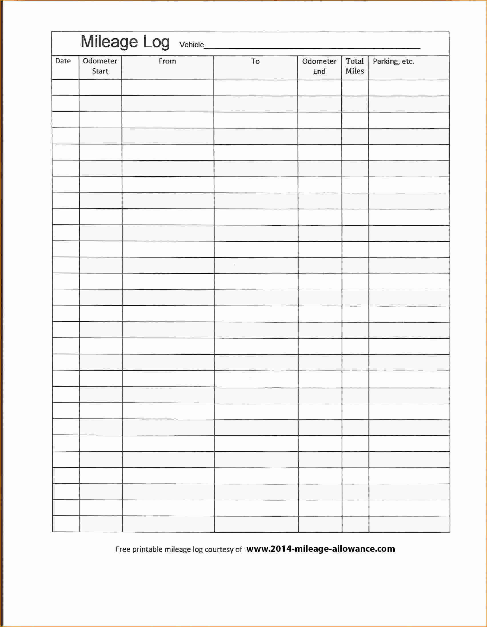 Mileage Spreadsheet Numbers