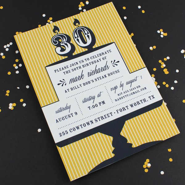 Milestone Candle Birthday Invitation Template 30th