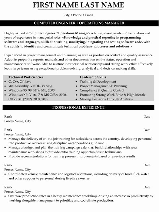 Military Experience Resume Example