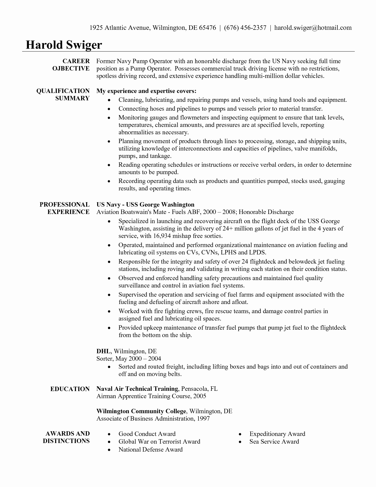 Military Experience Resume