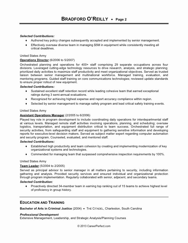 Military Resume Examples 2017
