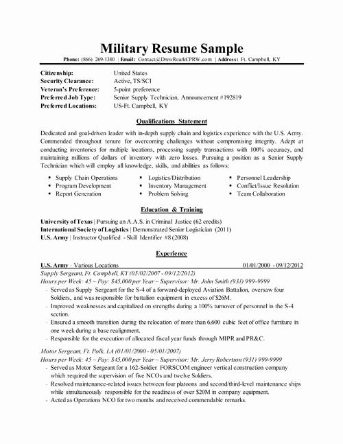 Military Resume Resume Pinterest