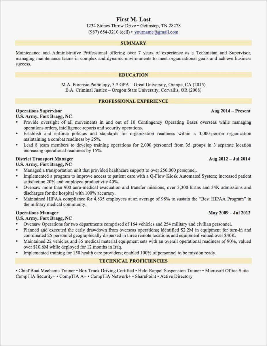 Military Resume Template Luxury Resume Builder for