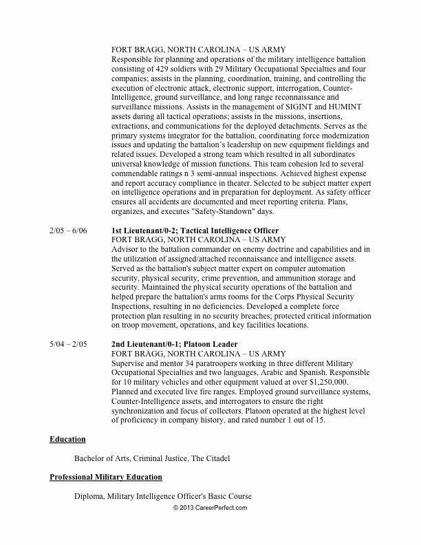 Military to Civilian Resume Builder Best Resume Gallery