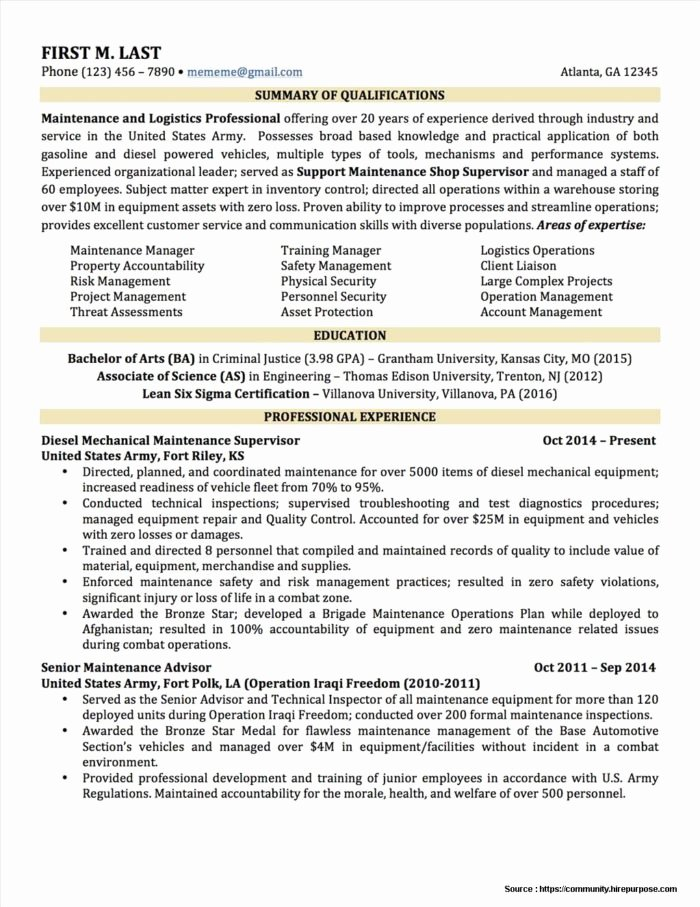 Military to Civilian Resume format Resume Resume