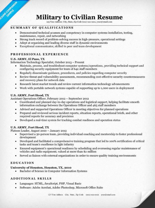 Military to Civilian Resume Sample & Writing Tips