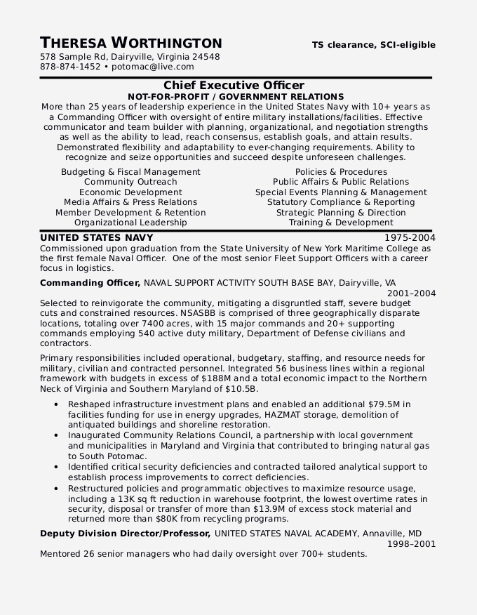Military to Civilian Resume Sample Certified Resume
