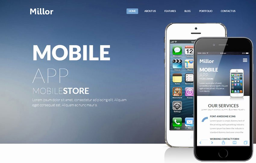Millor A Mobile App Based Flat Bootstrap Responsive Web