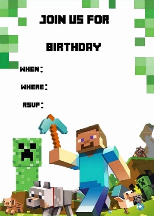 Minecraft Birthday Invitation Template – orderecigsjuicefo