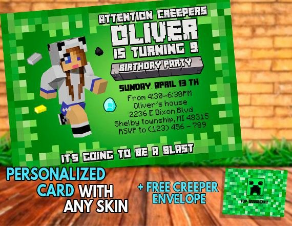 Minecraft Birthday Minecraft Invitation Personalized by
