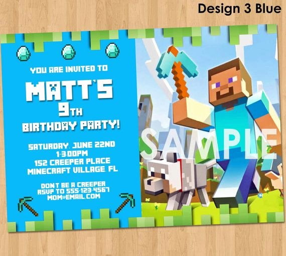 Minecraft Invitation Minecraft Birthday by Lcdesigns615 On