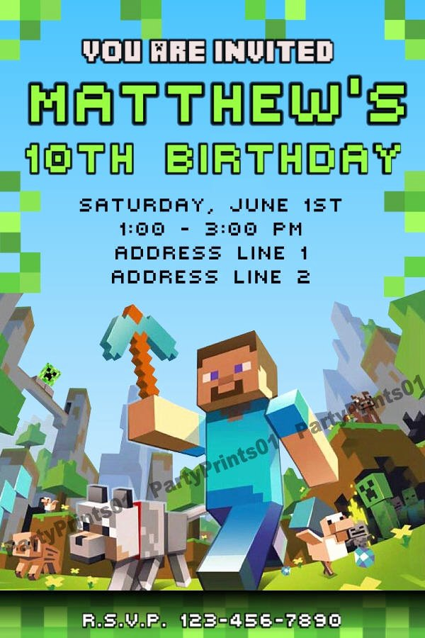 Minecraft Invitations Printable