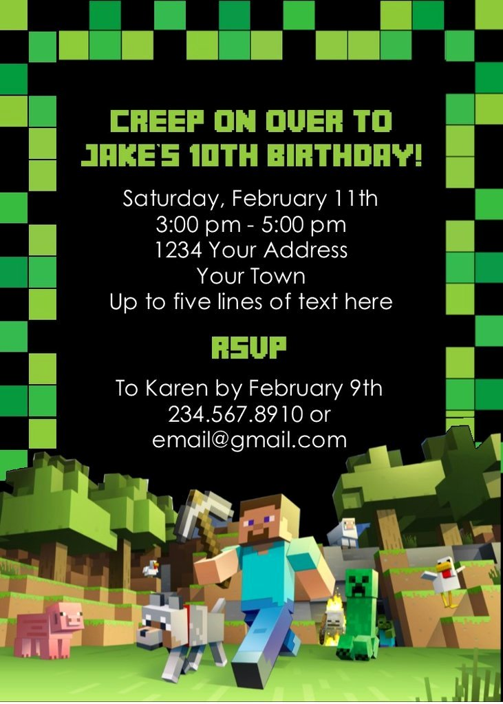 Minecraft Party Invitation Editable — Partygamesplus