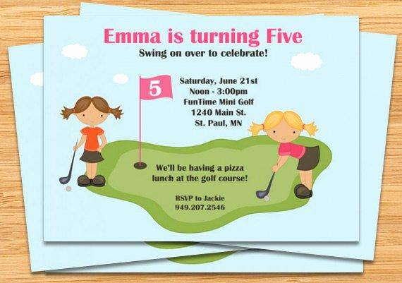 Mini Golf Birthday Party Invitations