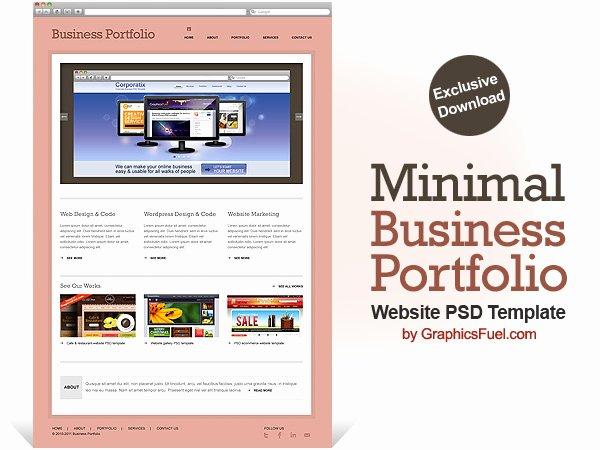 Minimal Business Portfolio Website Psd Template Graphicsfuel