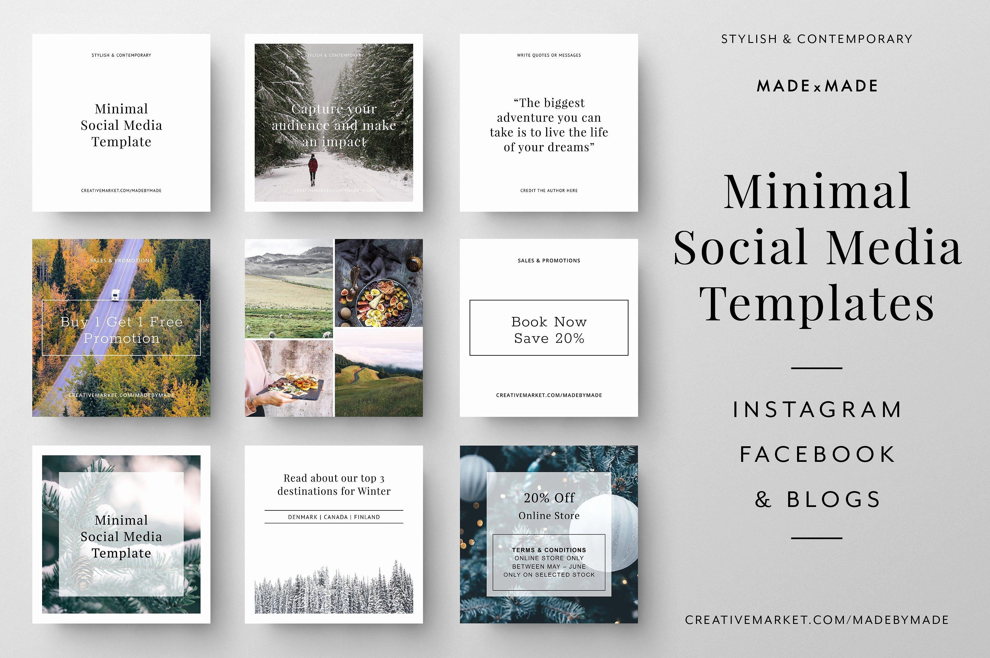 Minimal Social Media Templates