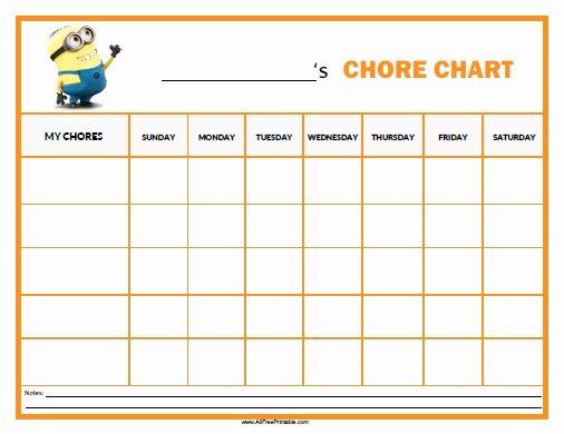 Minions Chore Chart Free Printable Allfreeprintable