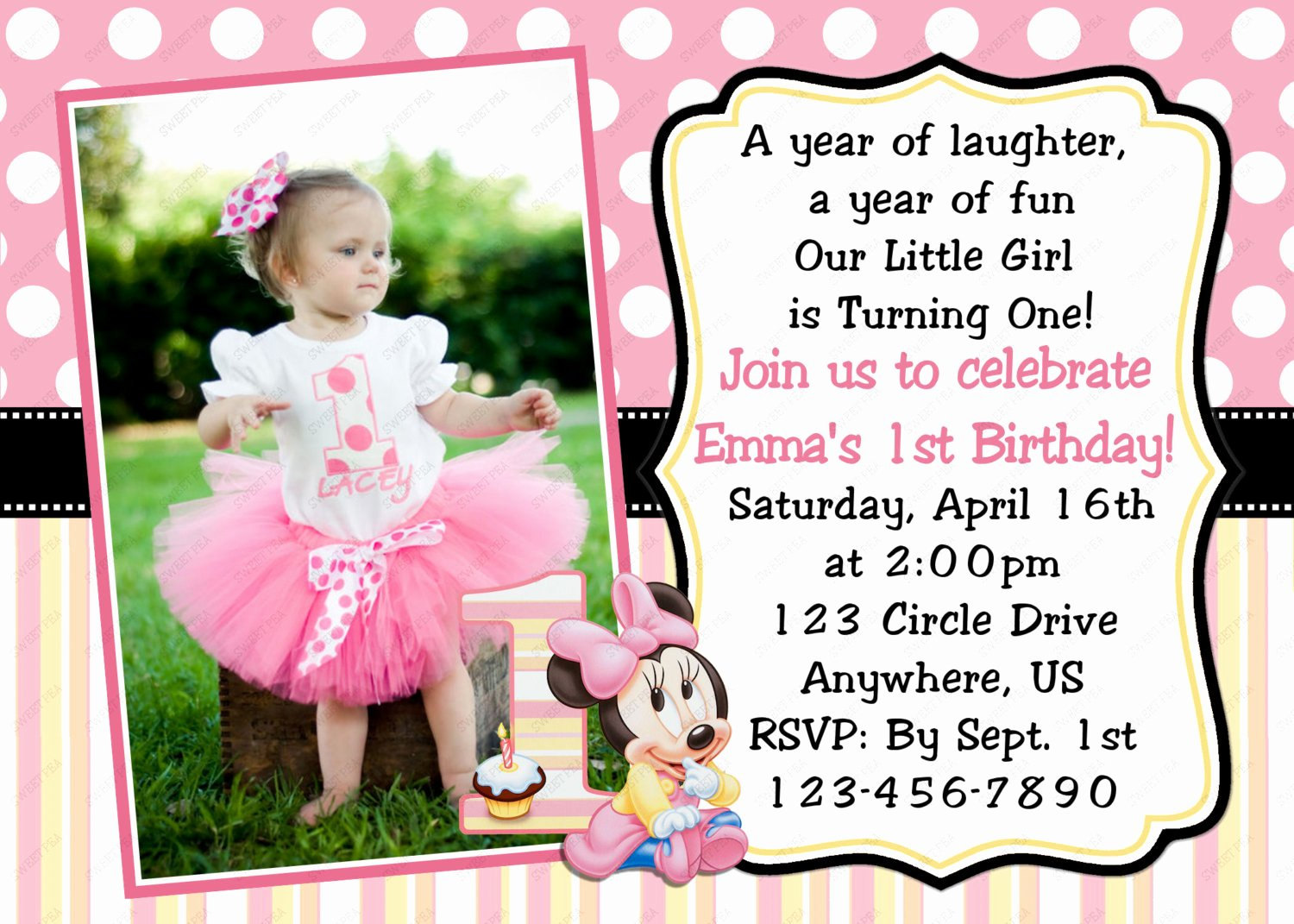 Minnie Mouse 1st Birthday Invitations Template