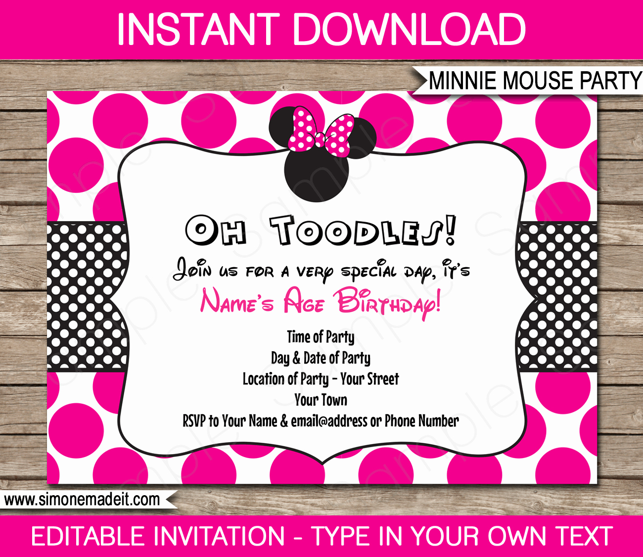Minnie Mouse Party Invitations Template