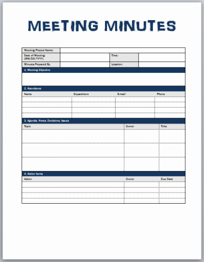 Minutes Meeting Template