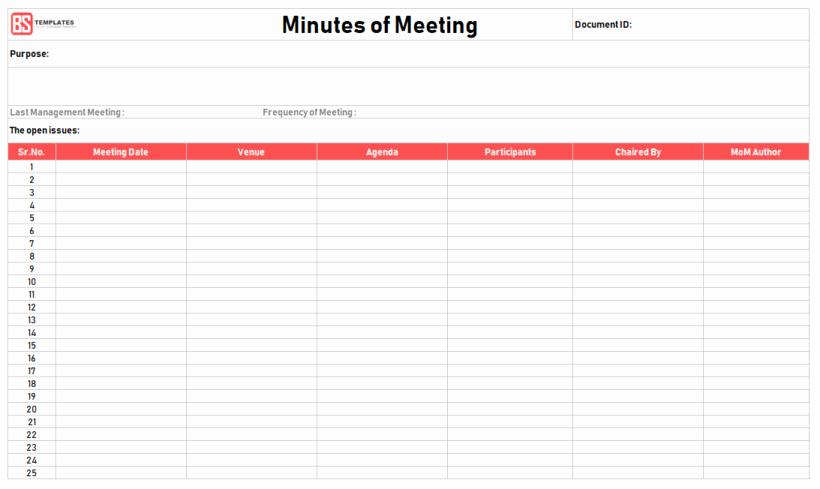 Minutes Of Meeting Template – 16 Excel Word