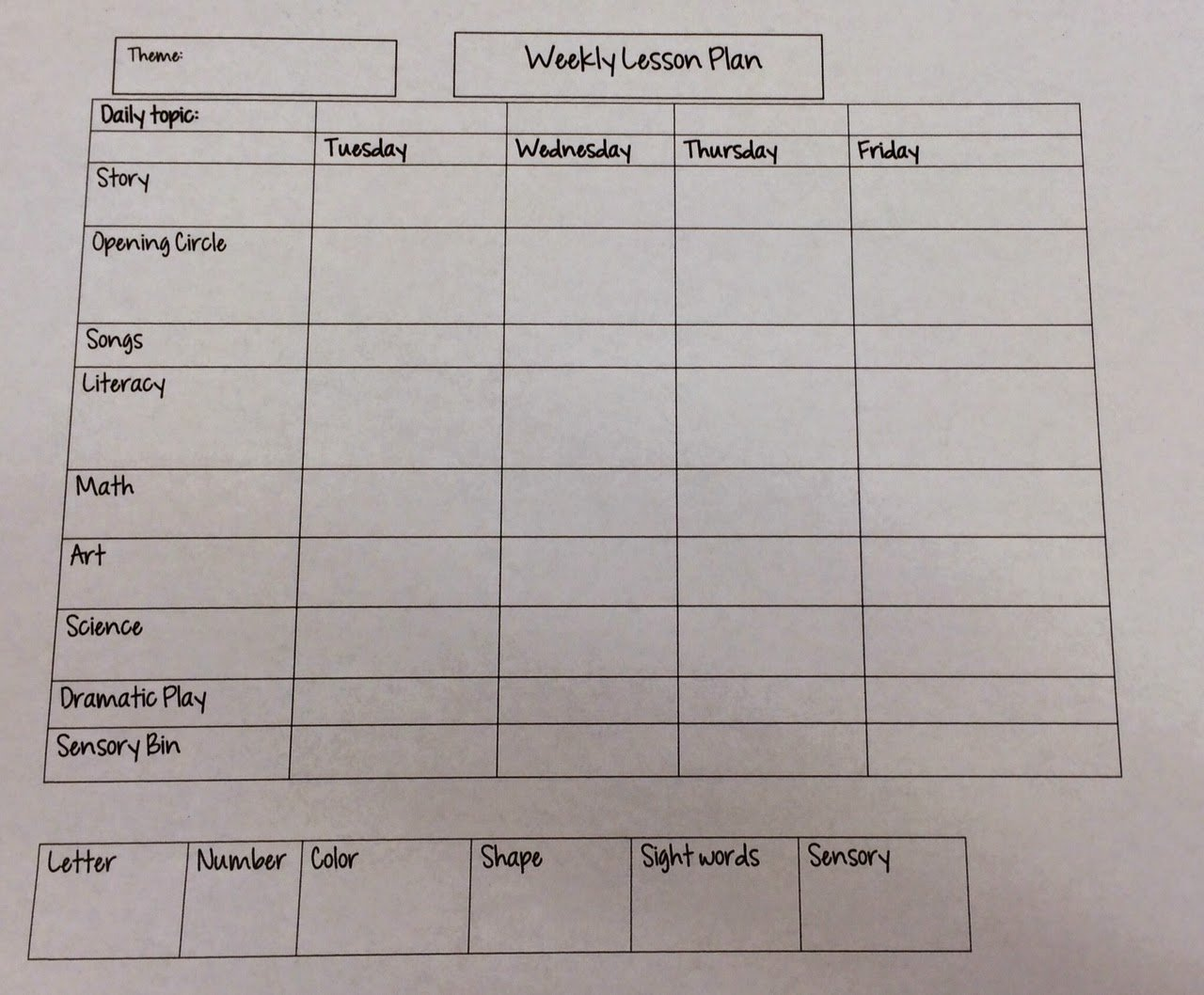 Miss Nicole S Preschool Weekly Lesson Plan Template