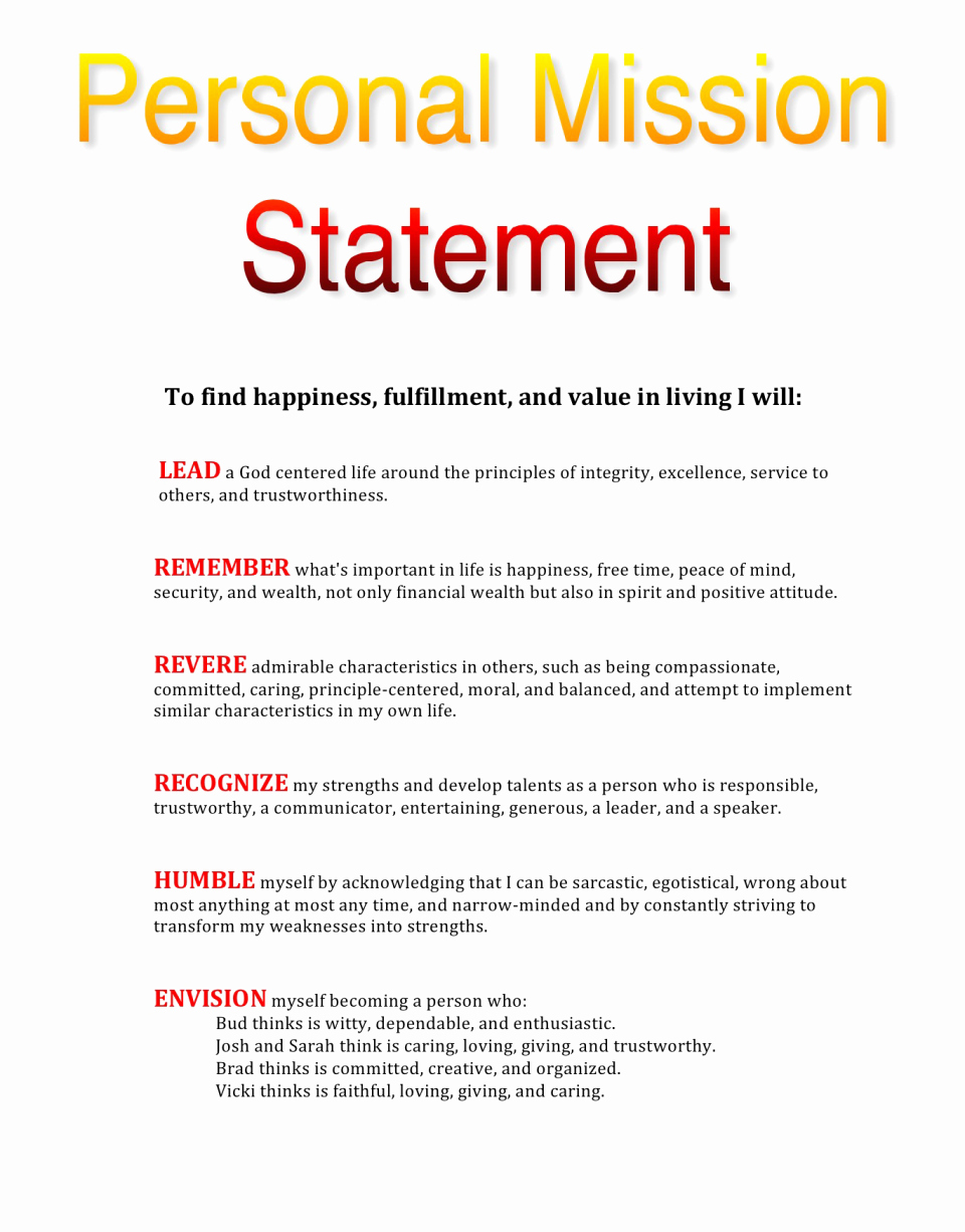 Mission Statement Examples Best Personal Vision Fresh