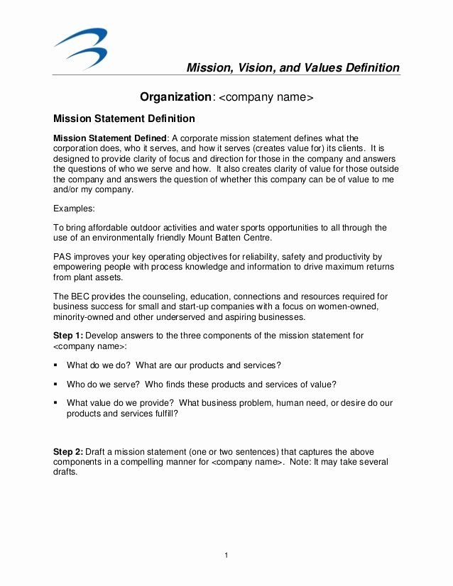 Mission Vision and Values Template