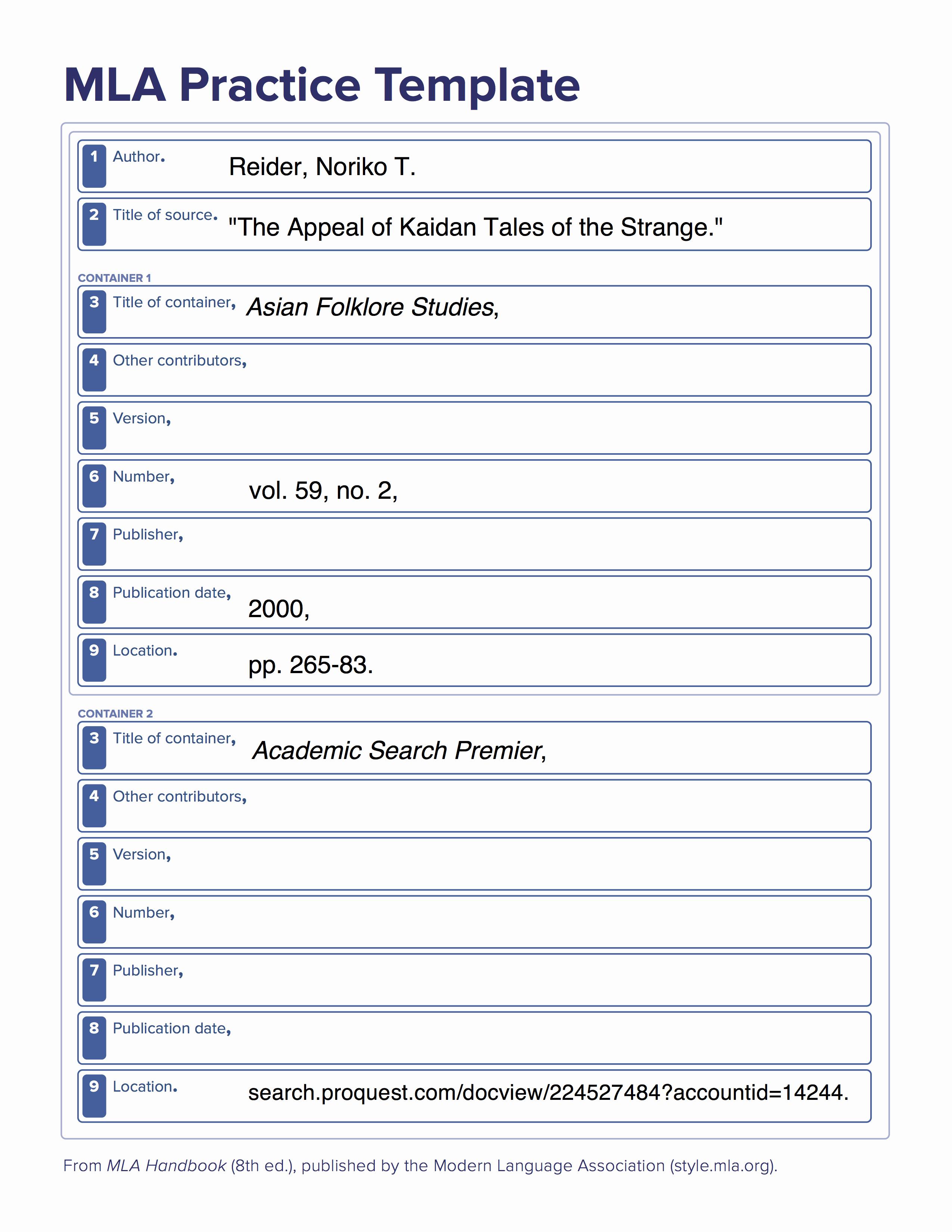 Mla 8th Ed Citing Information Libguides at University