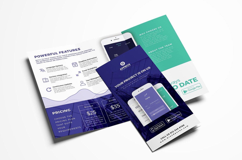 Mobile App Tri Fold Brochure Template Psd Ai & Vector