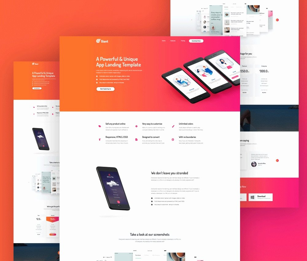 Mobile App Website Template Free Psd Download Psd