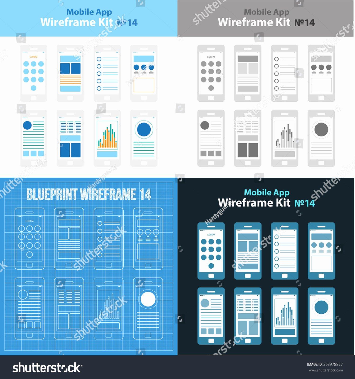 Mobile App Wireframe Ui Kit 14 Stock Vector
