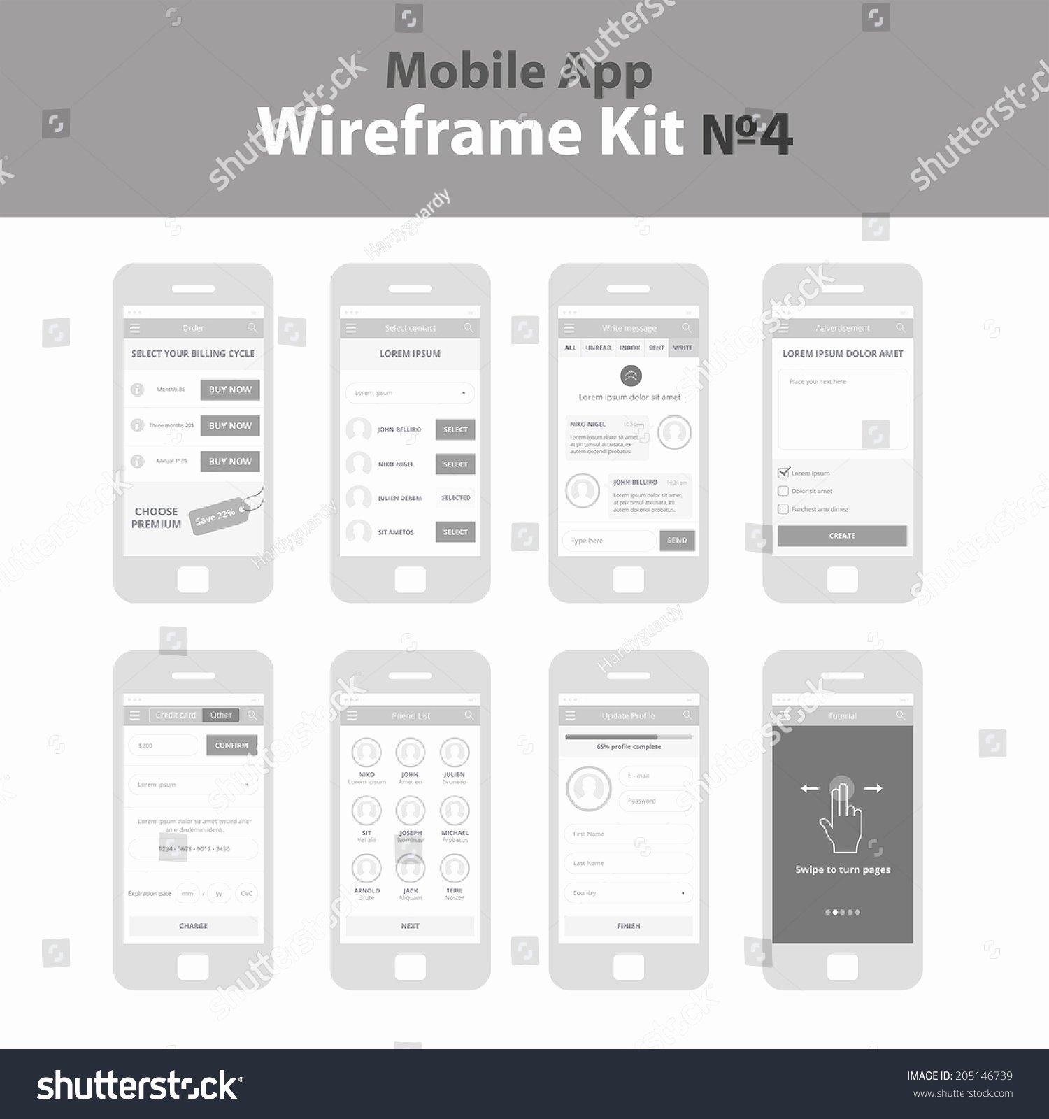 Mobile App Wireframe Ui Kit 4 Stock Vector