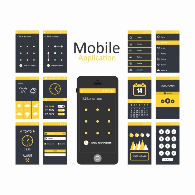 Mobile Applications Templates Vector