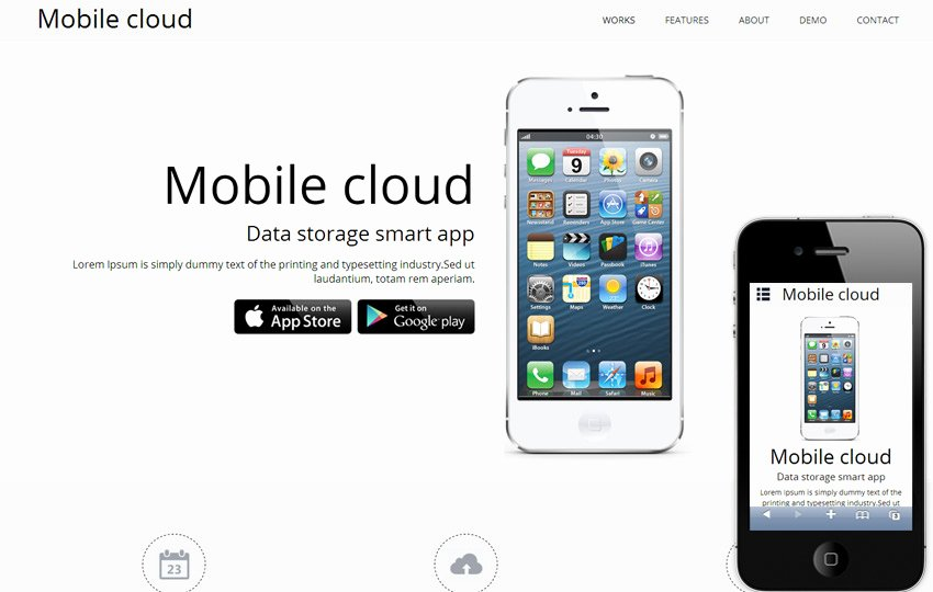 Mobile Cloud A App Based Mobile Website Template by W3layouts