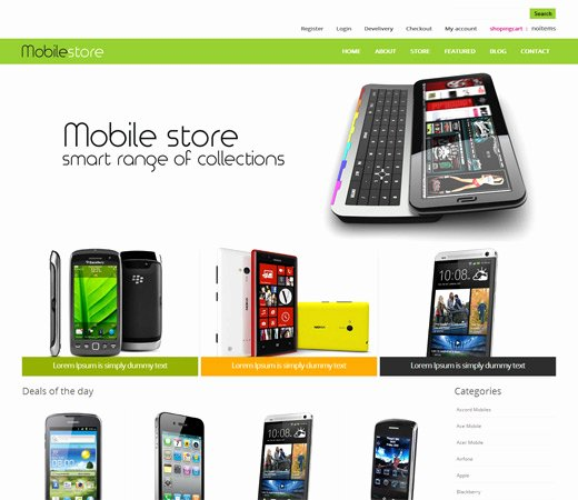 Mobile Store E Merce Shopping Cart Mobile Website