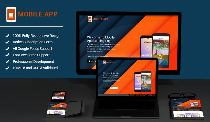 Mobileapps Responsive HTML Mobile App Landing Page