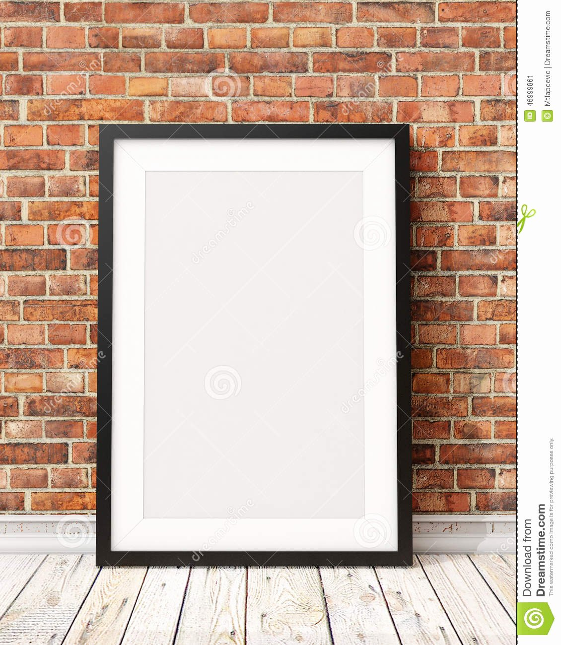 Mock Up Blank Black Picture Frame the Old Brick Wall