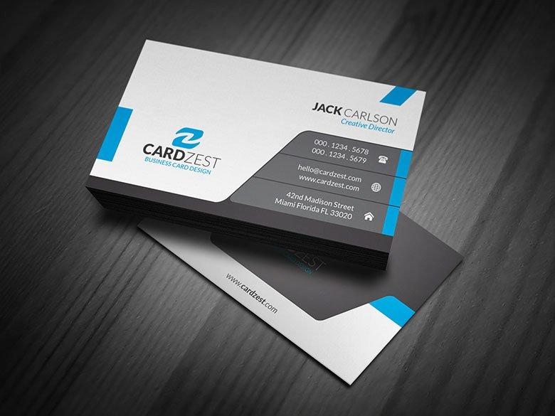 Modern & Sleek Professional Business Card Template Cardzest