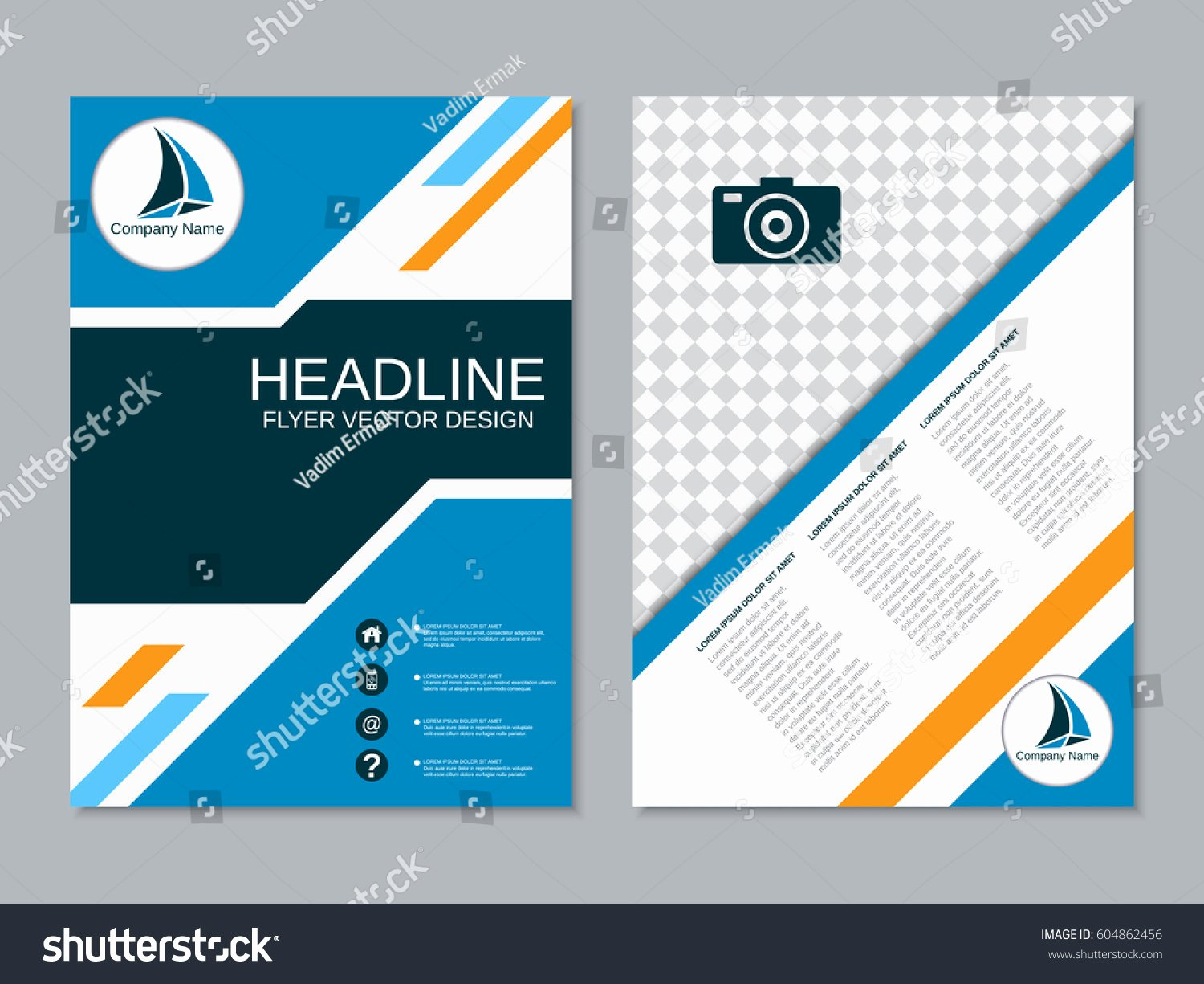 Modern Business Twosided Flyer Vector Design Stock Vector