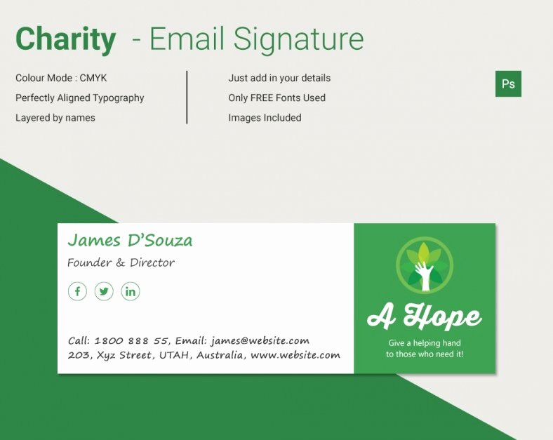 Modern Charity HTML Email Signature
