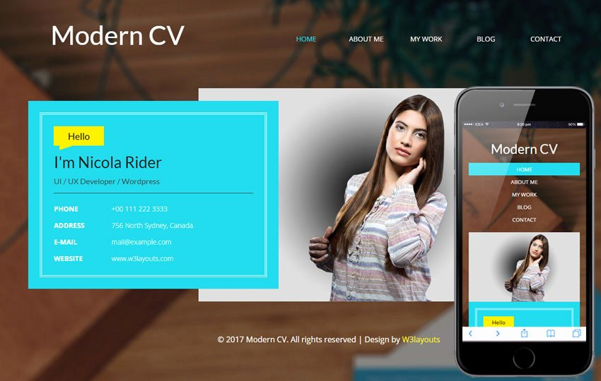 Modern Cv A Personal Category Bootstrap Responsive Web