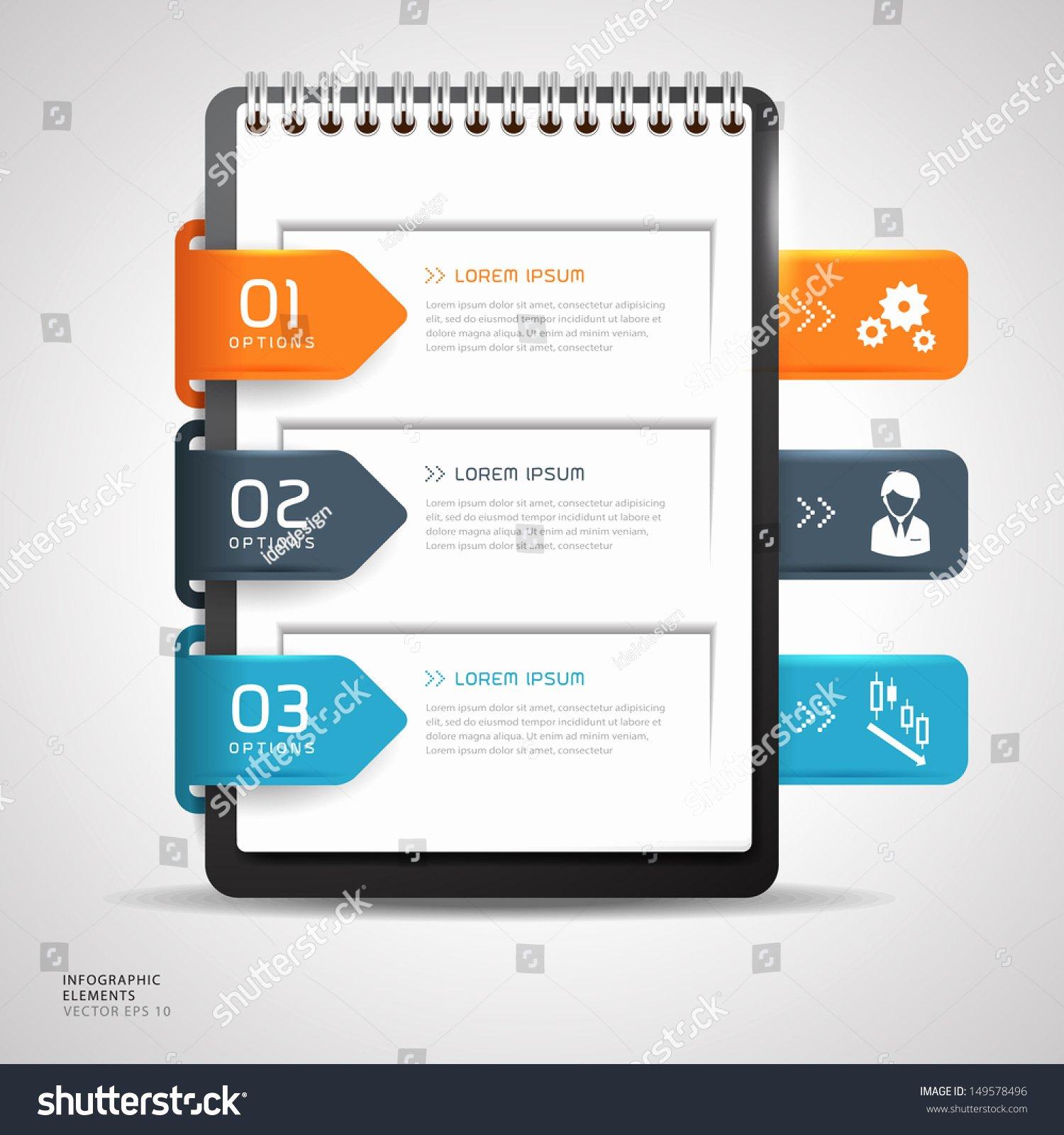 Modern Design button Creative Notebook Paper Stock Vector
