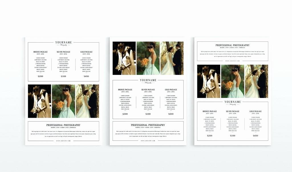 Modern Graphy Price List Template Deals Wedding