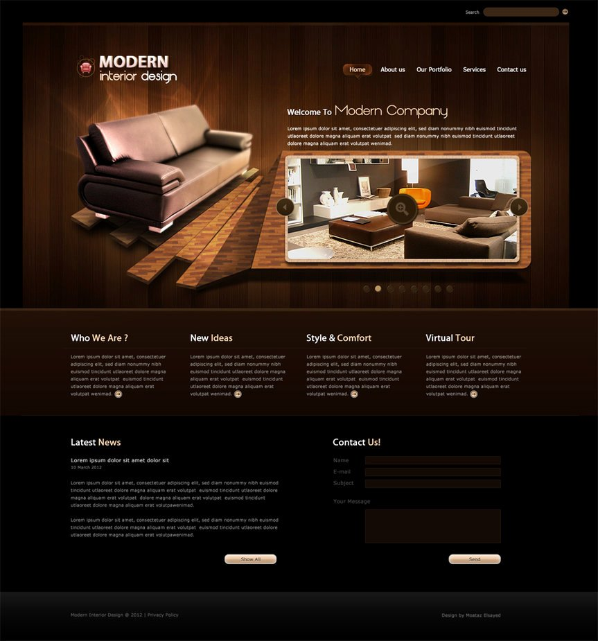 Modern Interior Design Web Template by Egyweza On Deviantart