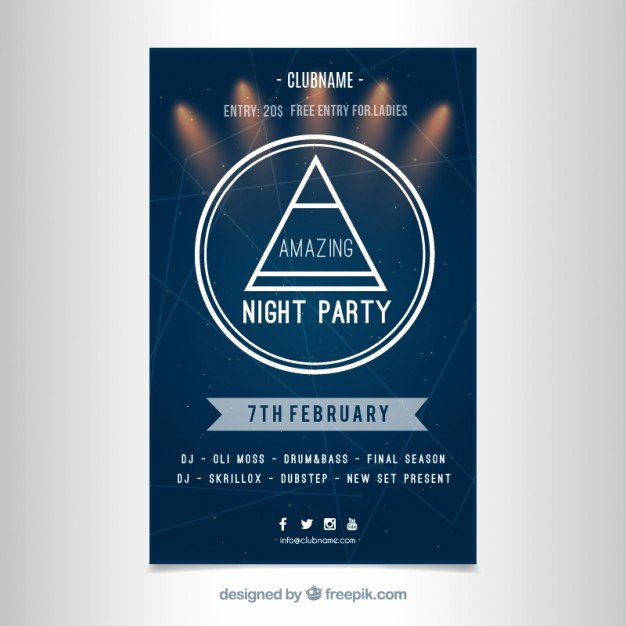 Modern Party Poster Template Free Vectors
