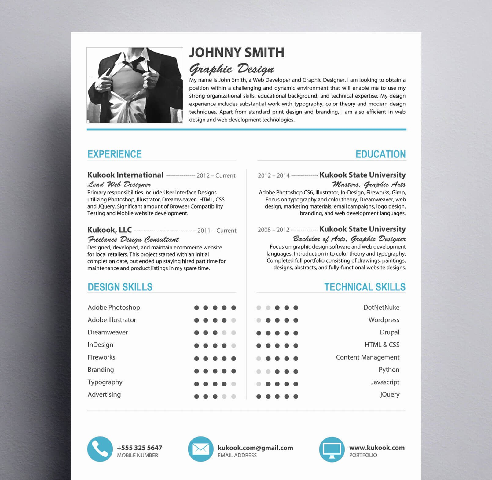 Modern Resume Template for Graphic Designers Kukook