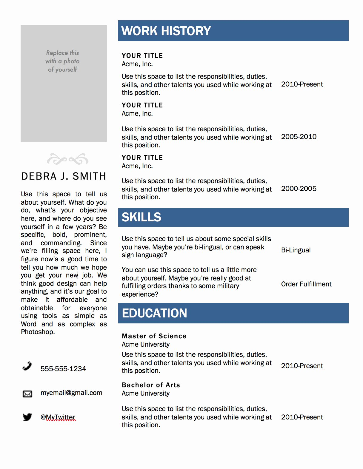 Modern Resume Template for Microsoft Word — Superpixel