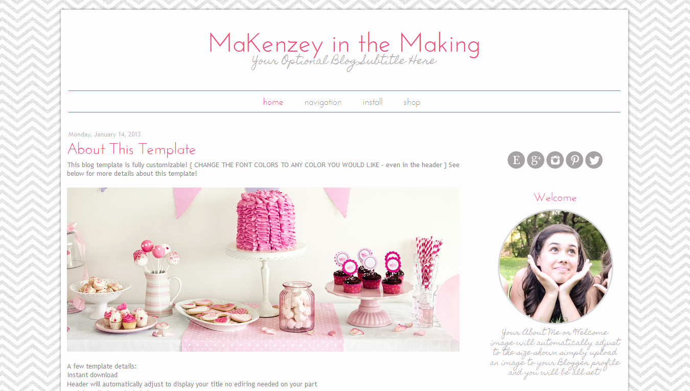 Modern Template Pink Chevron Design